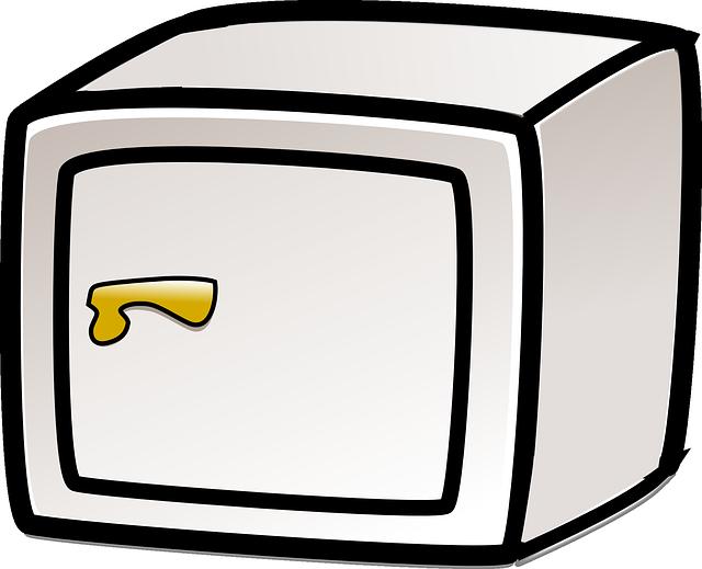 šedý trezor, ilustrace